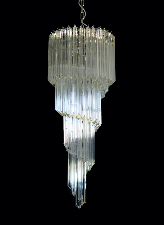 Large Murano Chandelier Spiral Formed in the style of Venini