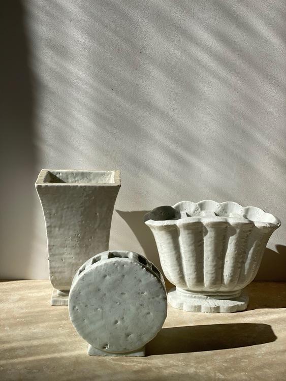 Gunnar Nylund trio Chamotte Creme Vases