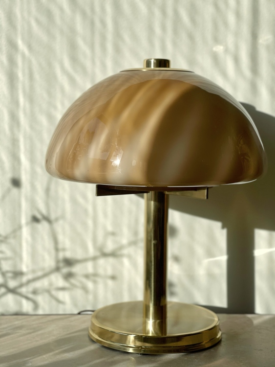 Large Mushroom Swirl Table Lamp. 1970s.