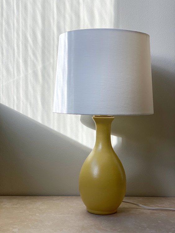 Yellow Sculptural Ceramic Lamp by Bo Fajans. 1940s.