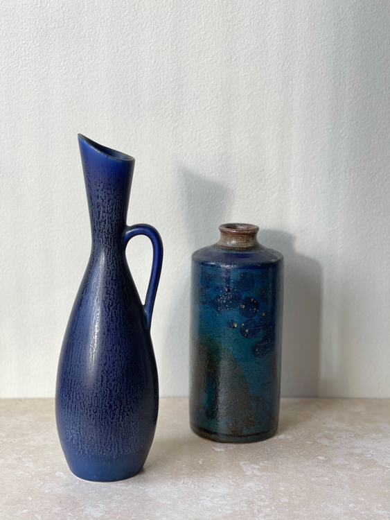 Stålhane set of Blue Stoneware Vessels for Rörstrand. 1950s.