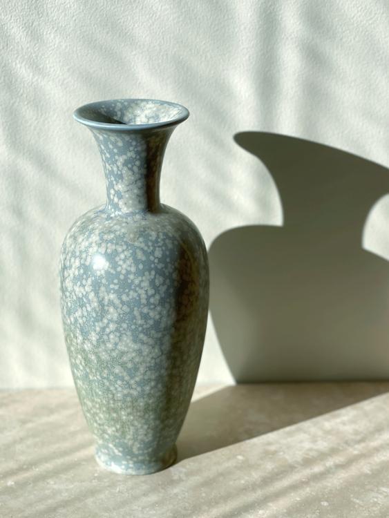 Gunnar Nylund Speckled Blue Stoneware Vase. 1940s.