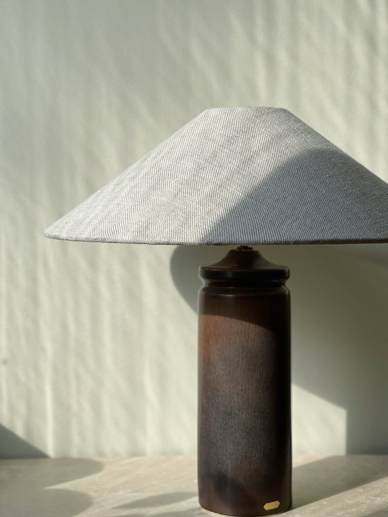 Stålhane Brown Stoneware Table Lamp for Rörstrand. 1960s.