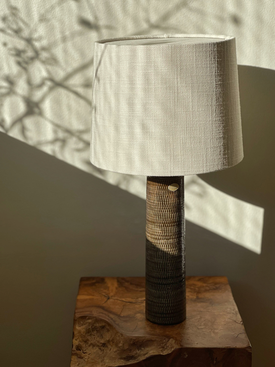 Upsala-Ekeby Brown Ceramic Table Lamp. 1960s.