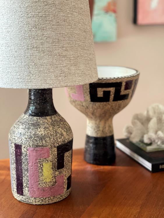 Upsala-Ekeby set of Lamp & Vase by Mari Simmulson. 1960s.