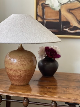 Gunnar Nylund Brown Stoneware Table Lamp for Rörstrand. 1940s.