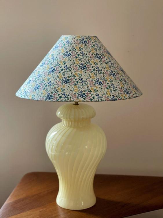 Large Murano Glass Yellow Swirl Table Lamp. 1960's.