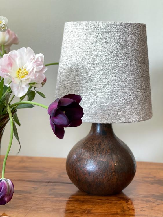 Stålhane Brown Stoneware Table Lamp for Rörstrand. 1950s.