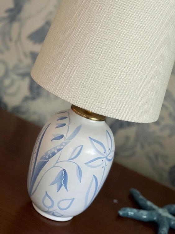 """Upsala-Ekeby Vintage Table Lamp """"Flora"""" by Anna-Lisa Thomson. 1940s."""