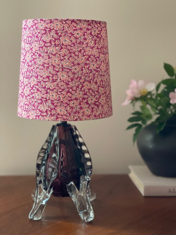 Mid-Century Burgundy Colored Glass Table Lamp