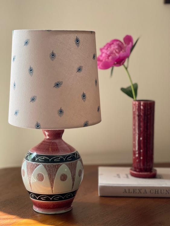 Tilgman Keramik for Pagos Pink Small Stoneware Table Lamp. 1960s.