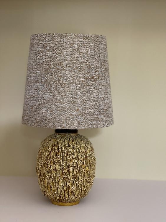 "Gunnar Nylund Stoneware ""Chamotte"" Table Lamp Mustard for Rörstrand"