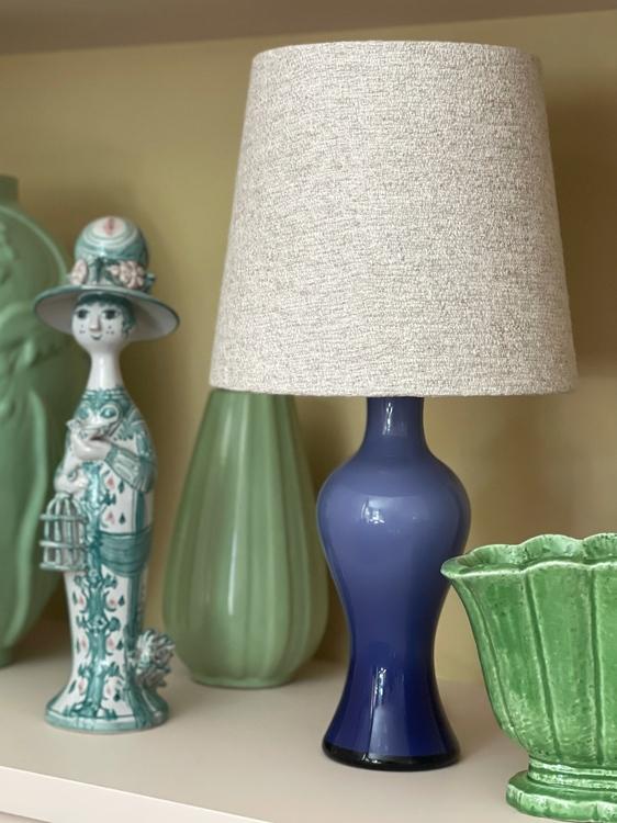 Lindshammar Midcentury Purple Glass Table Lamp. 1960s.