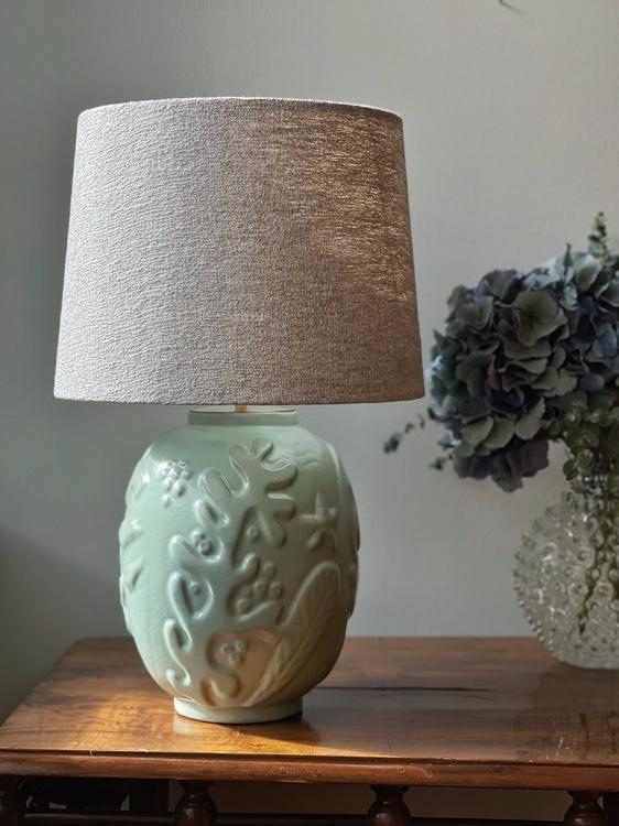 Anna-Lisa Thomson Green Ceramic Table Lamp for Upsala-Ekeby. 1940s.