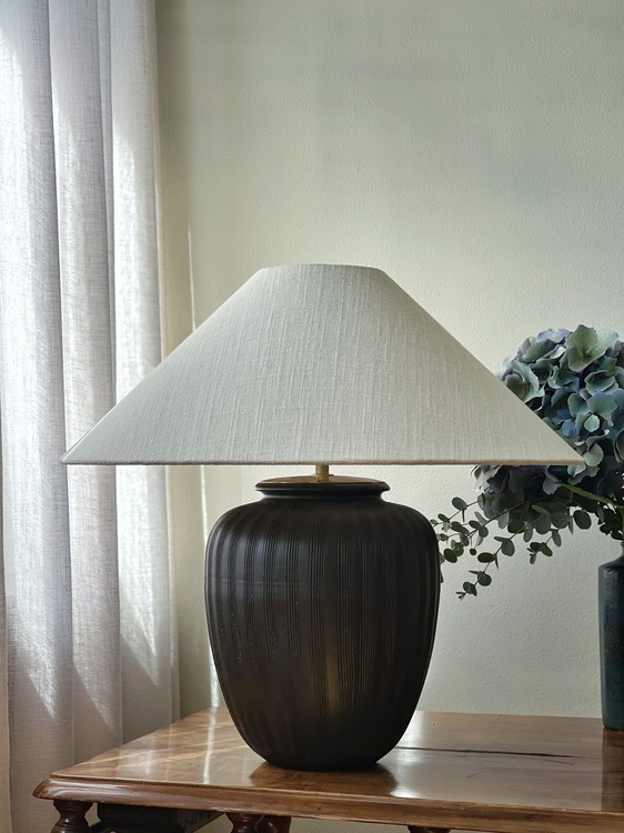 German Modern Brown Ceramic Table Lamp. 1960s.