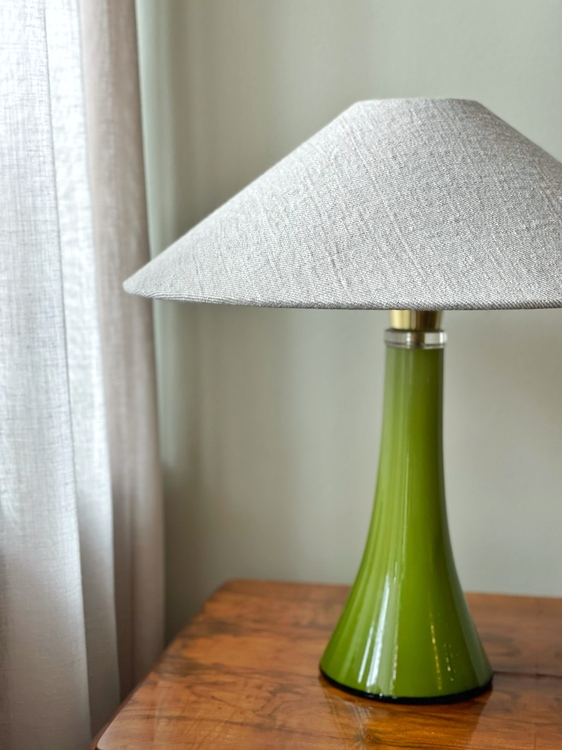 Midcentury Green Glass Table Lamp by Gert Nyström for Hyllinge. 1960s.