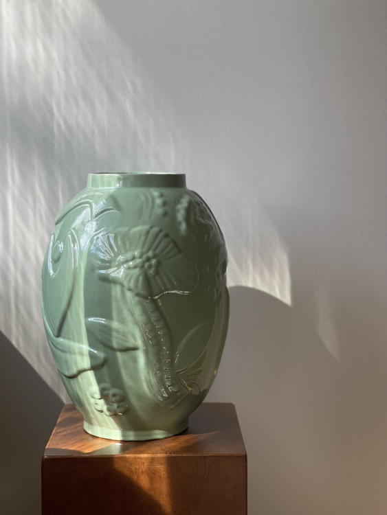 Upsala-Ekeby Green Vase by Anna-Lisa Thomson. 1940s.