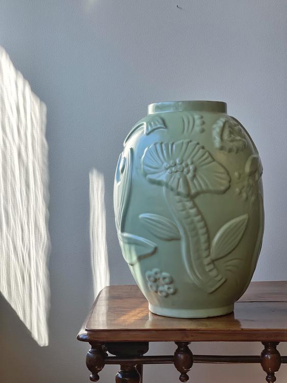 Upsala-Ekeby Green Matte Vase by Anna-Lisa Thomson. 1940s.
