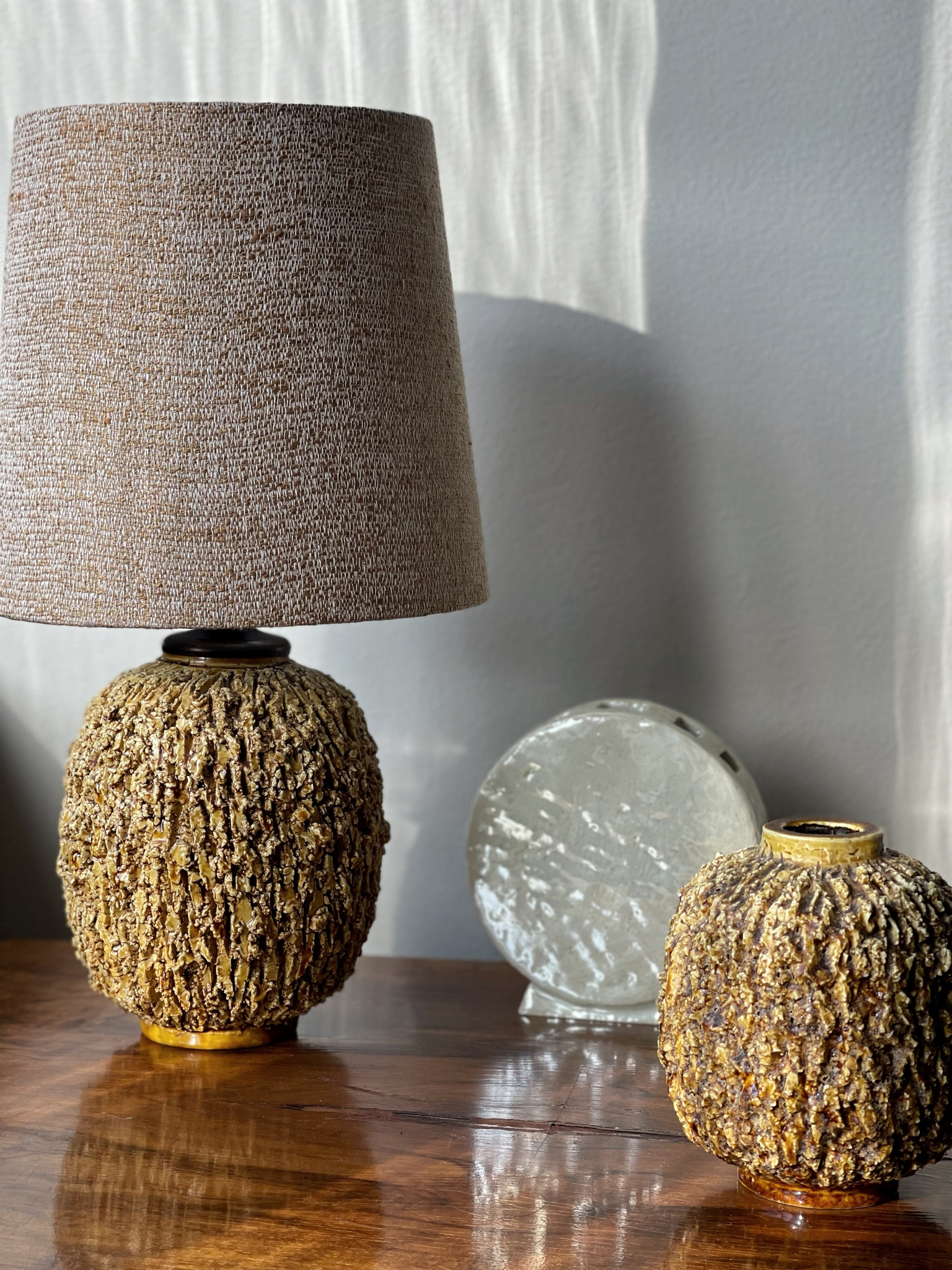 """Gunnar Nylund Stoneware Table Lamp """"Chamotte"""" for Rörstrand. 1940's."""