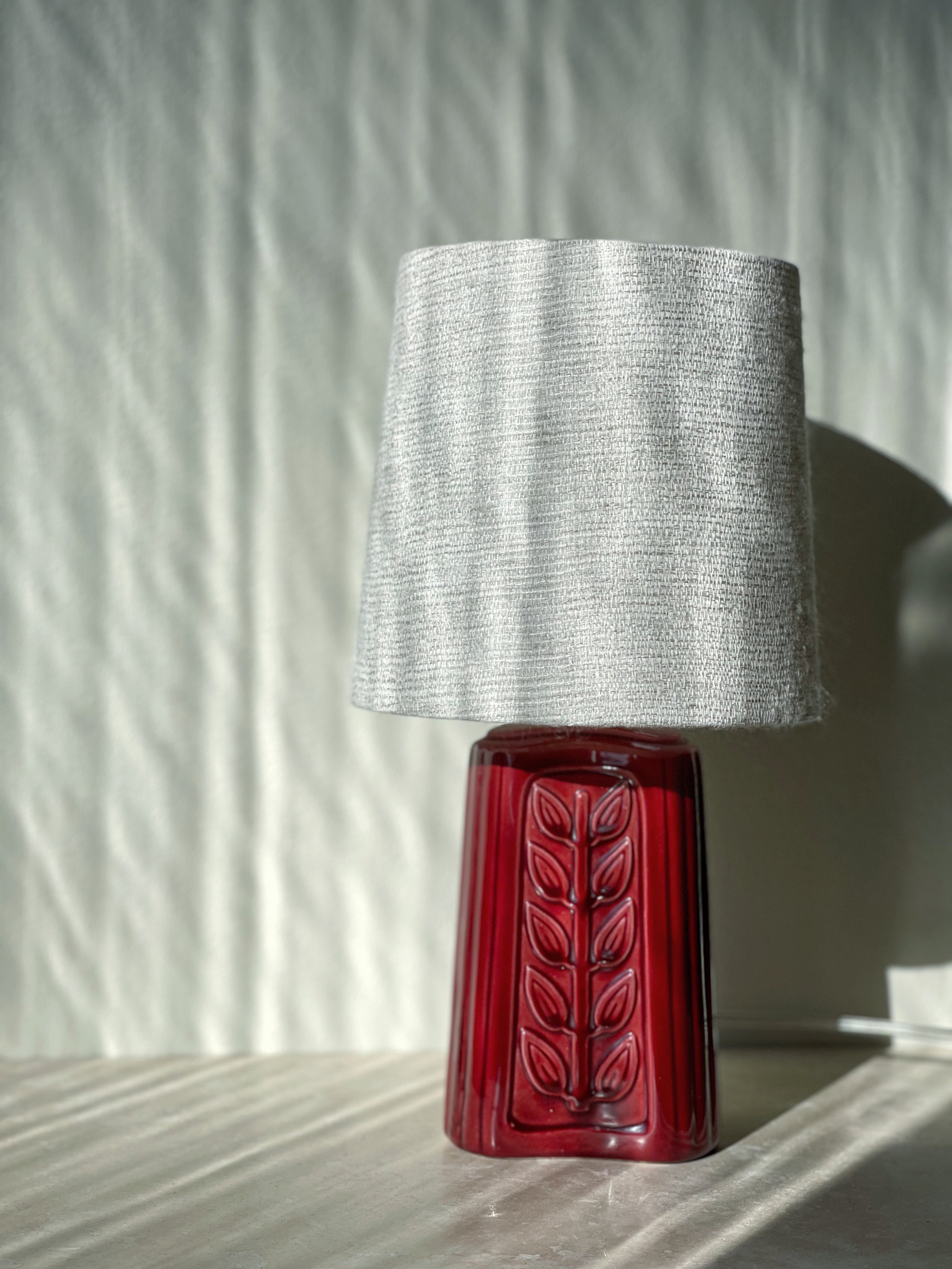 Gunnar Nylund Red Stoneware Table Lamp for Rörstrand.1960s.