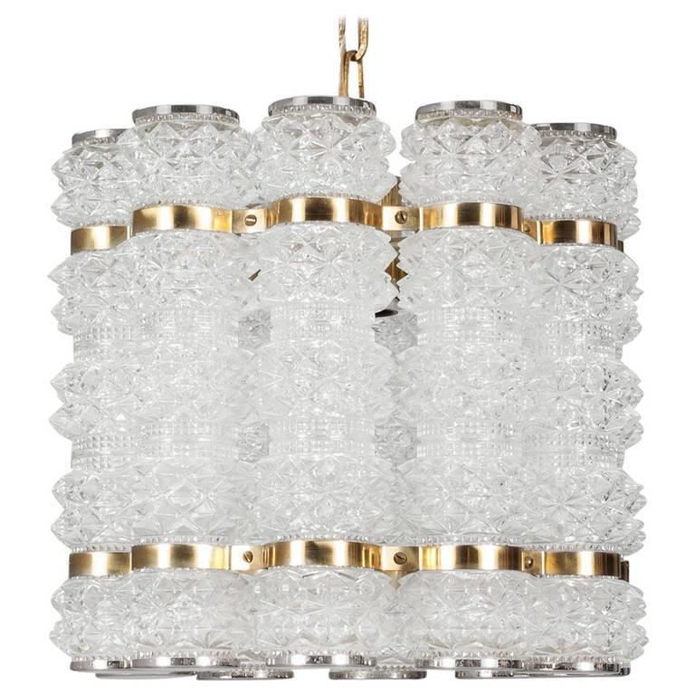 Tyringe Tubular Crystal & Brass Pendant