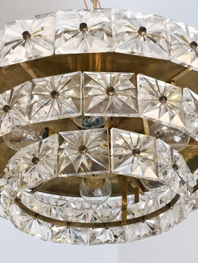 Orrefors Three-tier Chandelier with Crystal Prisms by Carl Fagerlund
