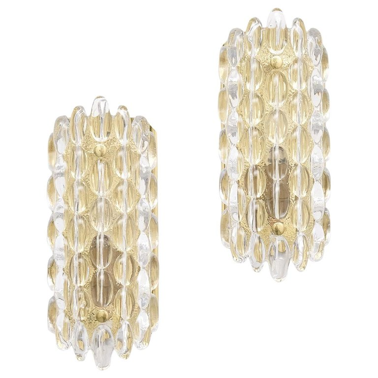 Orrefors pair of Crystal Sconces with gold brass fixtures by Carl Fagerlund