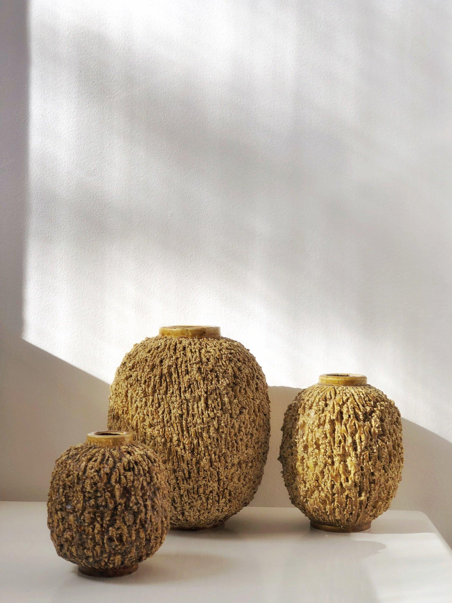 Gunnar Nylund trio Mustard Chamotte Vase