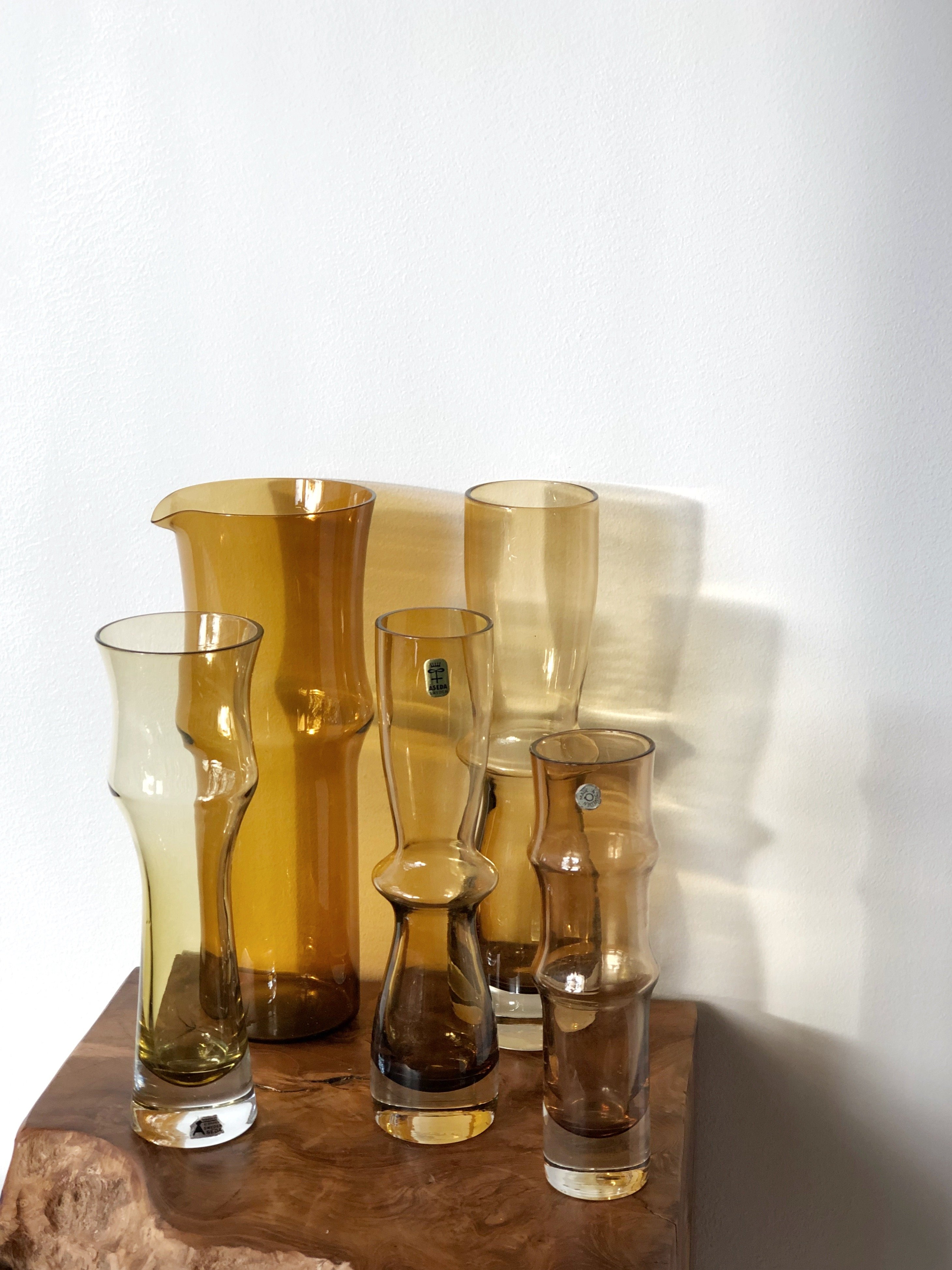 Åseda Amber Glass Vases - set of five 1960's
