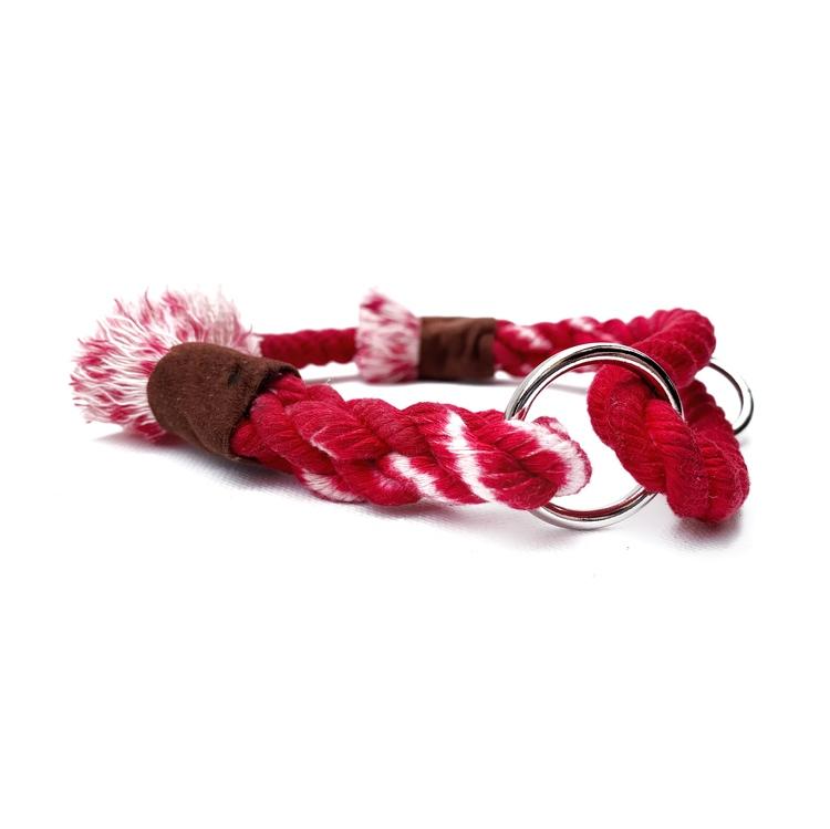 Rött hundhalsband av rep