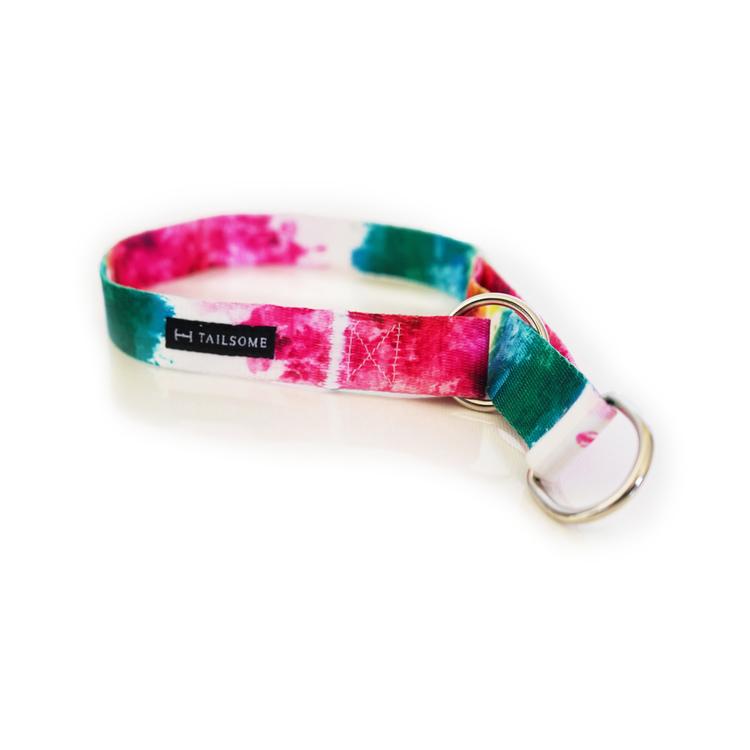 Färgglatt halvstryp hundhalsband