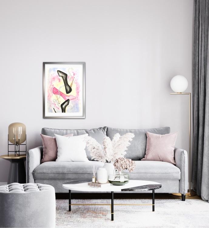 Fallande skor i rosa och svart