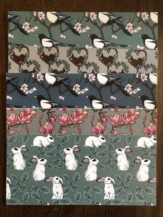 5-pack kort med mönster
