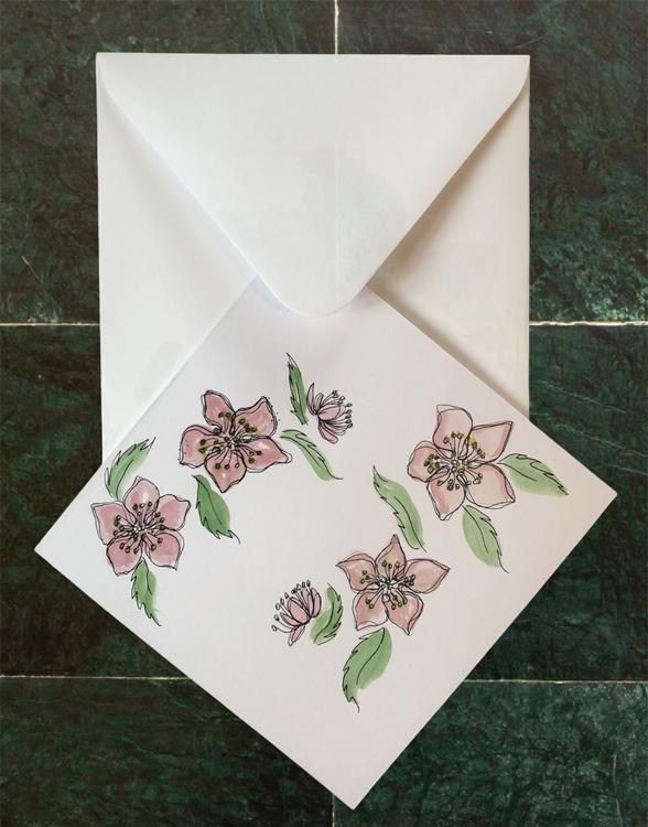Handmålat kort rosa blomma