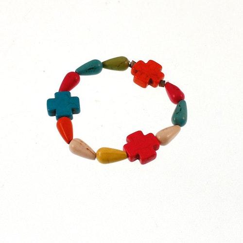 Barnarmband med färgglada stenar