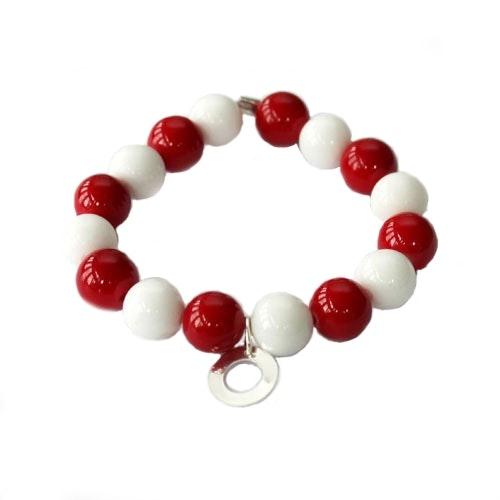 Armband i röd och vit marmor