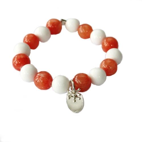 Armband av aprikos och vit marmor