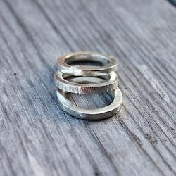 Tre ringar av äkta silver