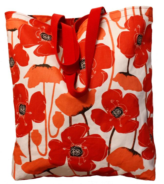 Kasse, mellanstor, med härligt röda blommor