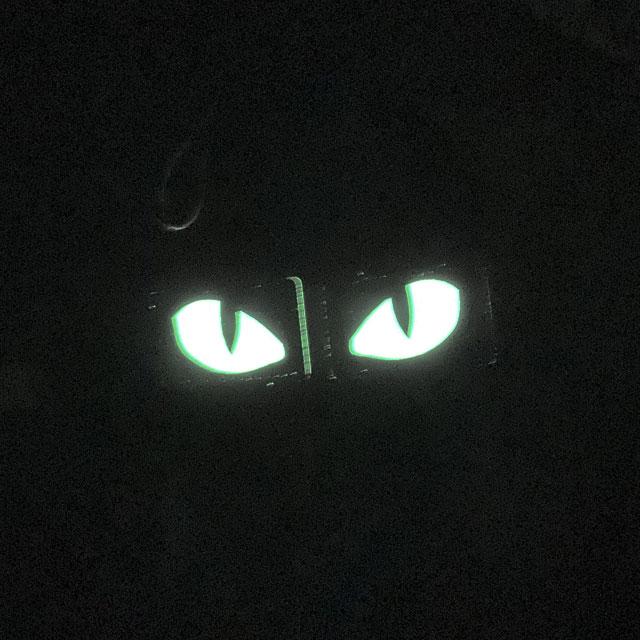 A pair of Lynx Glow Eyes Brown Hook Tube seen glowing in the dark