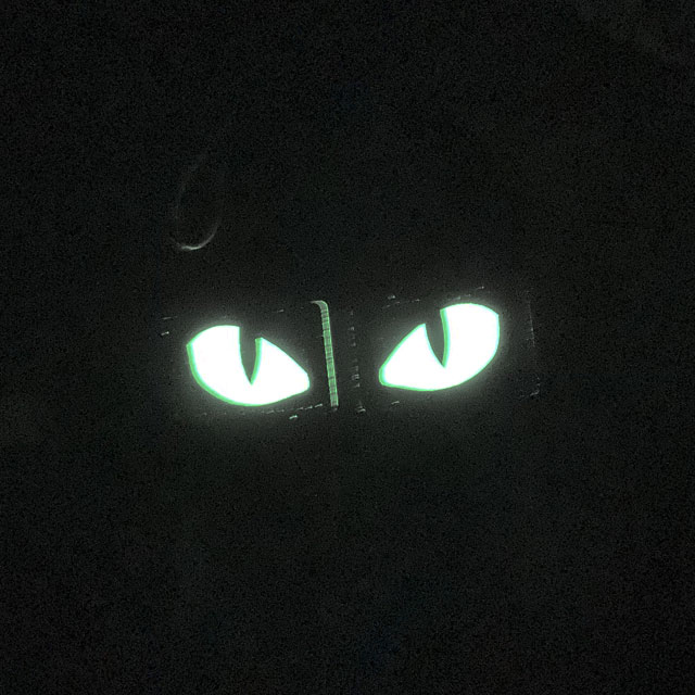 A pair of Lynx Glow Eyes Black Hook Tube seen glowing in the darkness