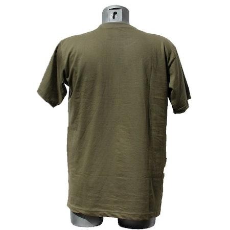 Backside of a T-Shirt Khaki Green TUG.