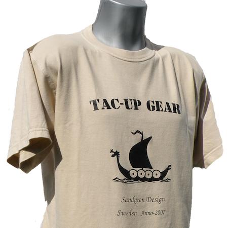 T-Shirt Tan TUG with vikingship logo showing.