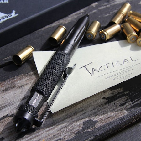 Shellcasings and a Pen Tactical Black.