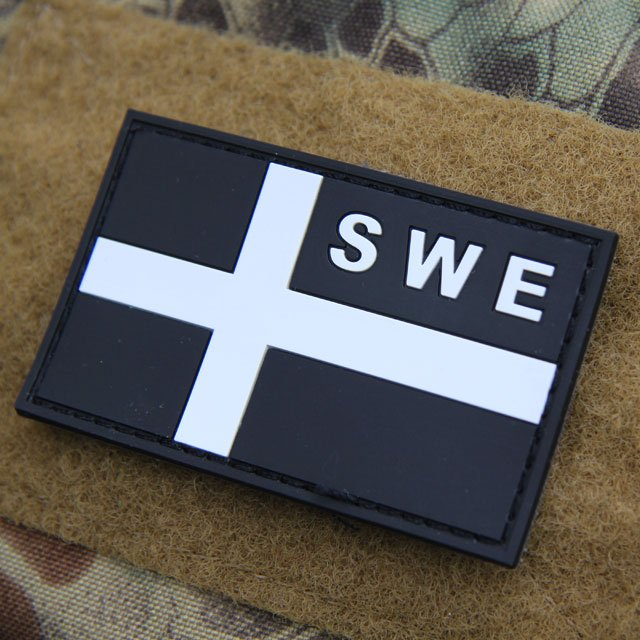 Sweden Flag OPS PVC Black/White Patch.