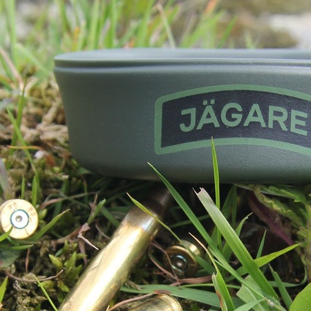 Close up on the Jägare print on a Folding Cup JÄGARE Green/Black/Green.