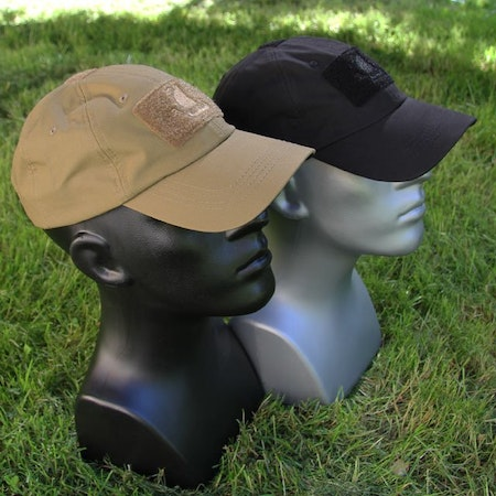 Coyote and Black Tactical Baseball caps on mannequin.