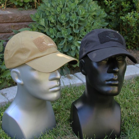 Tactical baseball caps in coyote and black colors