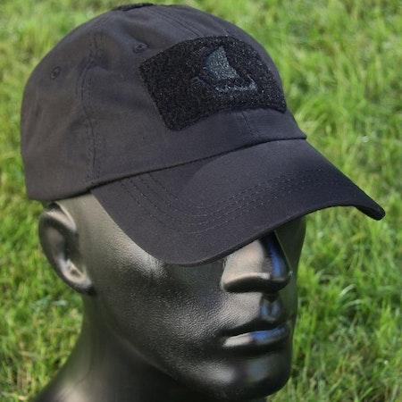 Black tactical baseball cap with vikingship logo.