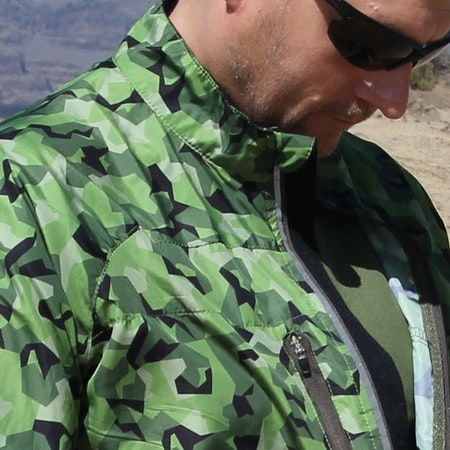 Beautiful camouflage on this windbreaker and runners jacket.